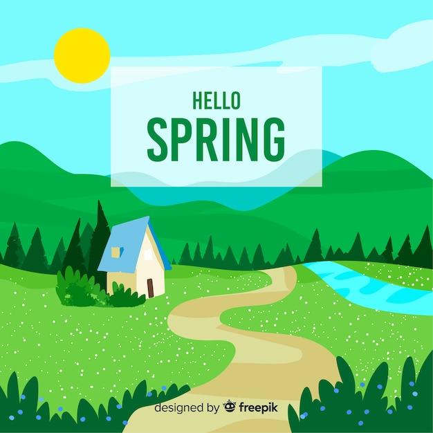 Landschap lente achtergrond Gratis Vector