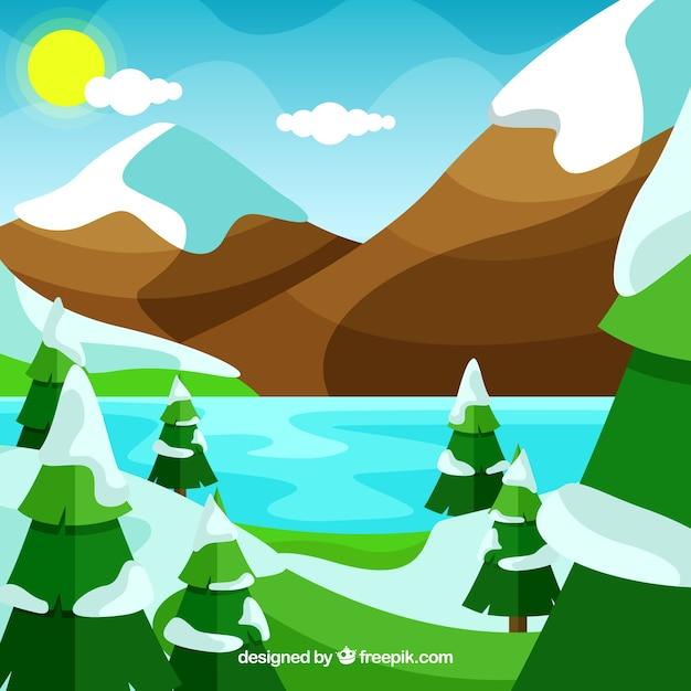 Landschap met besneeuwde bergen en dennen Gratis Vector