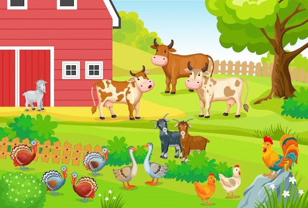 Landschap met boerderijdieren. Gratis Vector