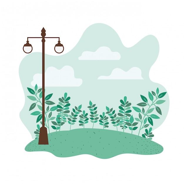 Landschap met bomen en planten geïsoleerde pictogram Premium Vector