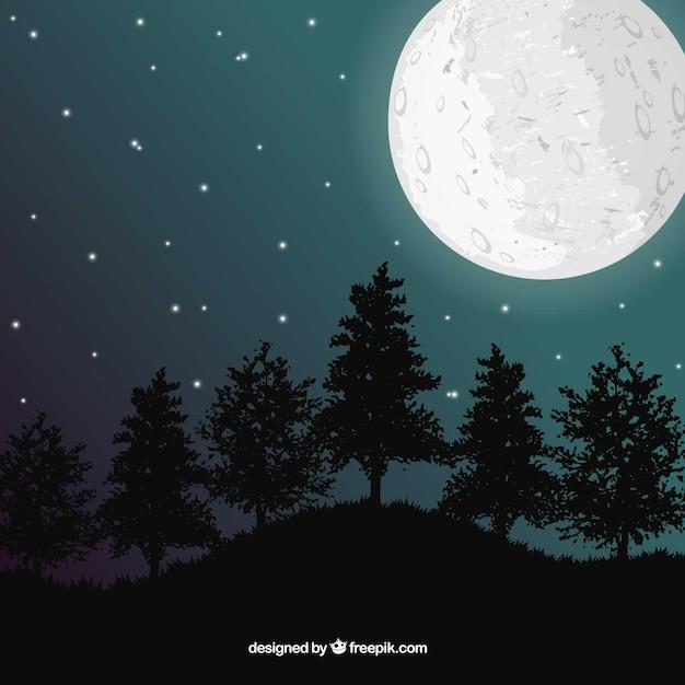 Landschap met de maan en bomen Gratis Vector