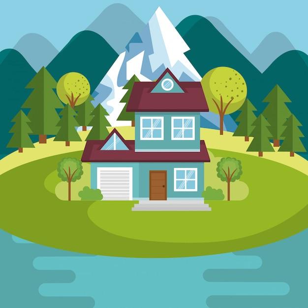 Landschap met huis en meerscène Gratis Vector