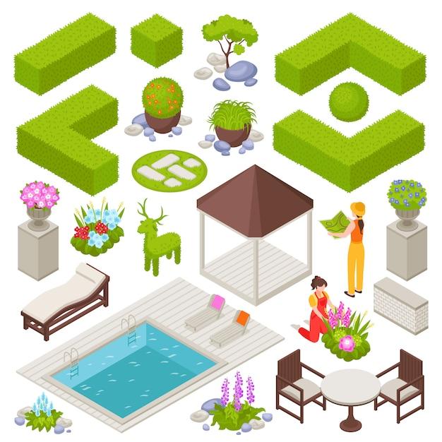 Landschap met isometrische geïsoleerde bloemen en planten wordt geplaatst die Gratis Vector