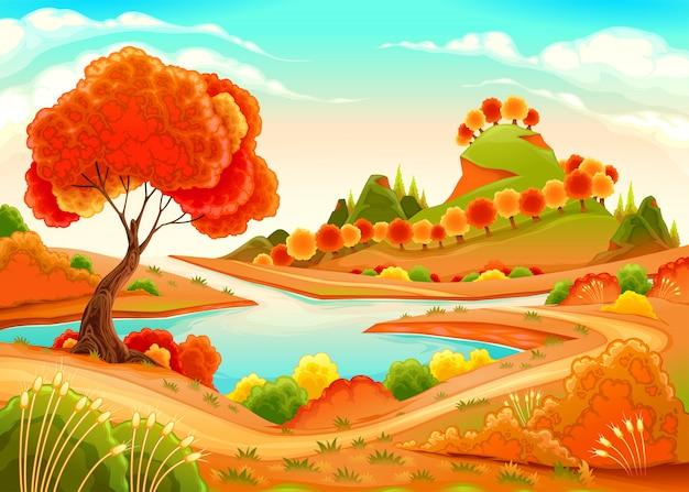 Landschap met vijver, bomen en heuvels Premium Vector