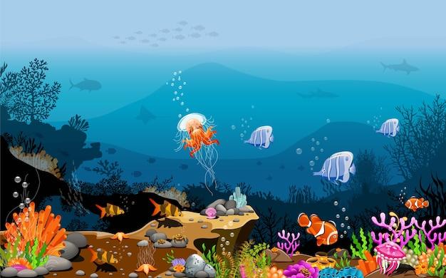 Landschap onder de zee de schoonheid van levende wezens. Premium Vector