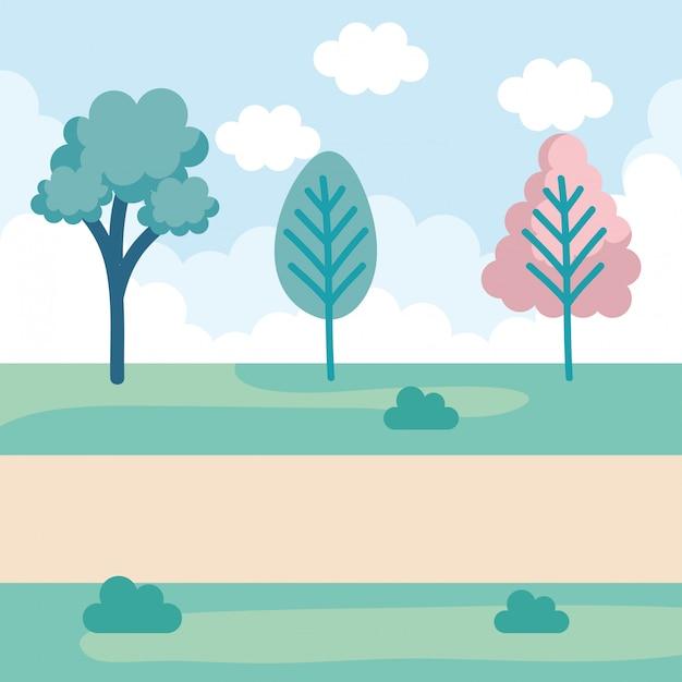 Landschap park scène pictogram Gratis Vector