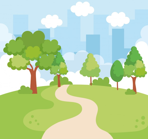 Landschap park scène pictogram Gratis Vector