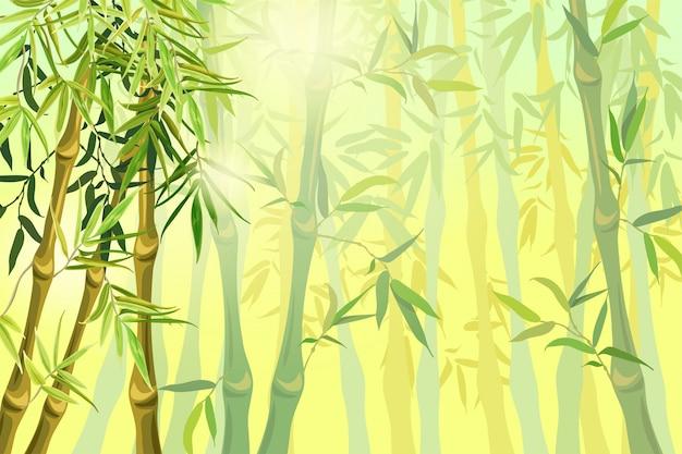 Landschap van bamboestammen en bladeren. Gratis Vector