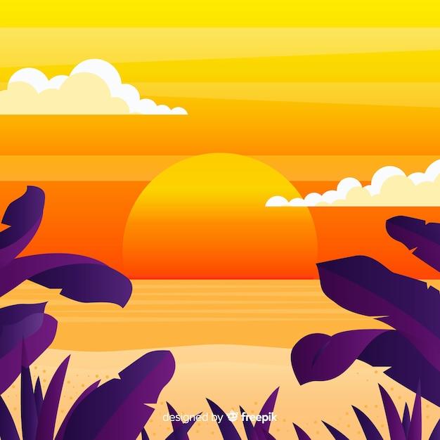 Landschap van de gradiënt het vlakke strandzonsondergang Gratis Vector
