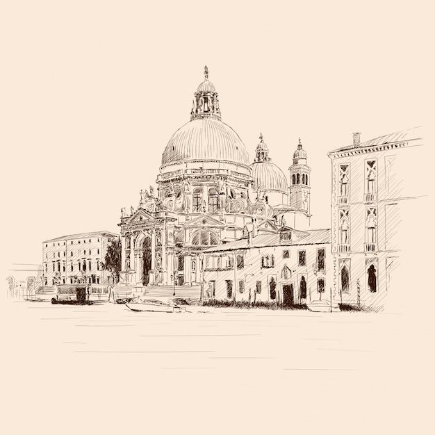 Landschap van de oude stad venetië. oude gebouwen, de kathedraal van st. mary en een waterkanaal. Premium Vector