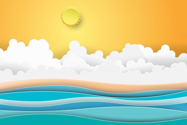 Landschap van overzeese zonsondergangmening met de zomerstrand. Premium Vector