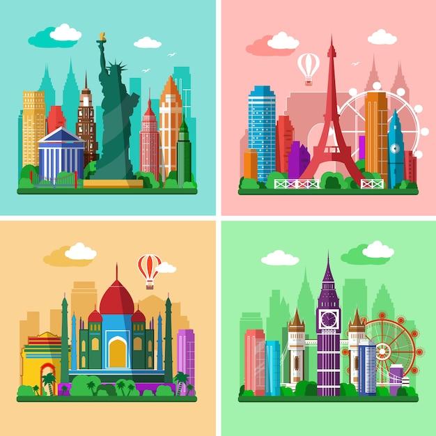 Landschappen in vlakke stijl van londen, parijs, new york en delhi met bezienswaardigheden. Premium Vector