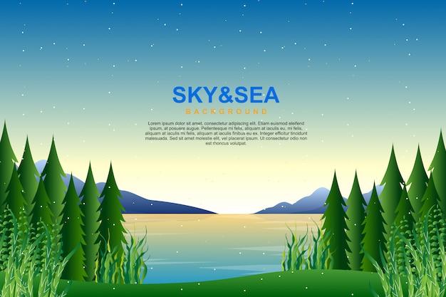 Landschaps blauwe hemel en overzees in avondillustratie Premium Vector