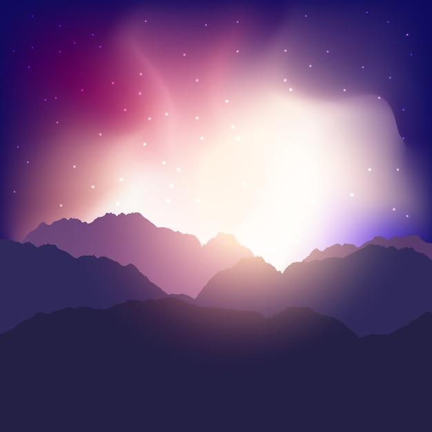 Landschapsachtergrond met bergen tegen een zonsonderganghemel Gratis Vector