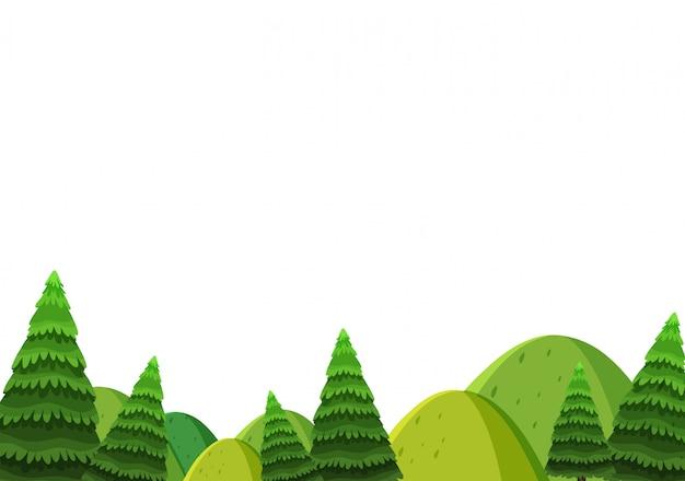 Landschapsachtergrond van groene heuvels en pijnboombomen Premium Vector