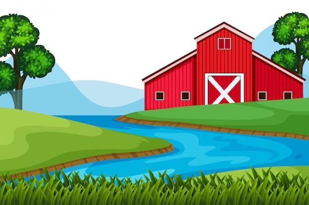 Landschapsachtergrond van rode schuur op de landbouwgrond Premium Vector