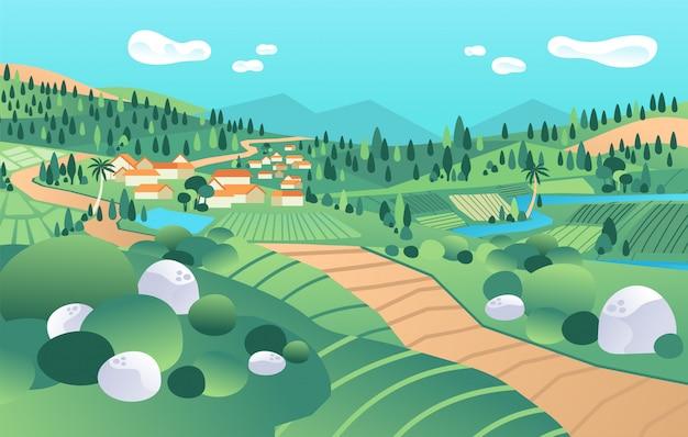 Landschapsmening in platteland, met berg, vallei, huizen, rivier, boom, padieveld vectorillustratie Premium Vector