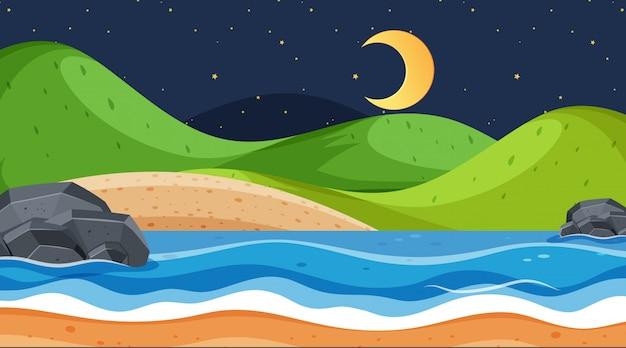 Landschapsontwerp met oceaan bij nacht Premium Vector