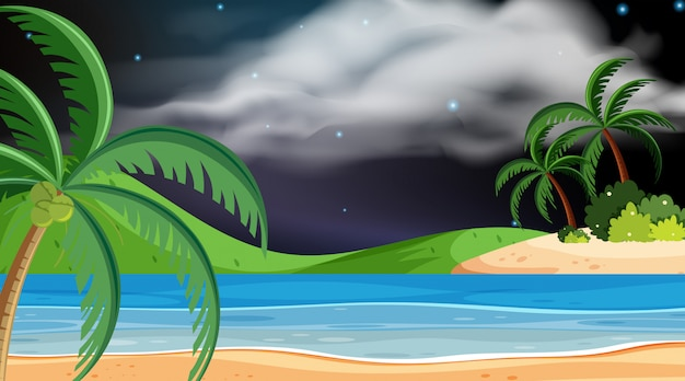 Landschapsontwerp van oceaan bij nacht Premium Vector