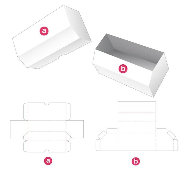 Lange afgeschuinde doos en deksel gestanst sjabloon Premium Vector