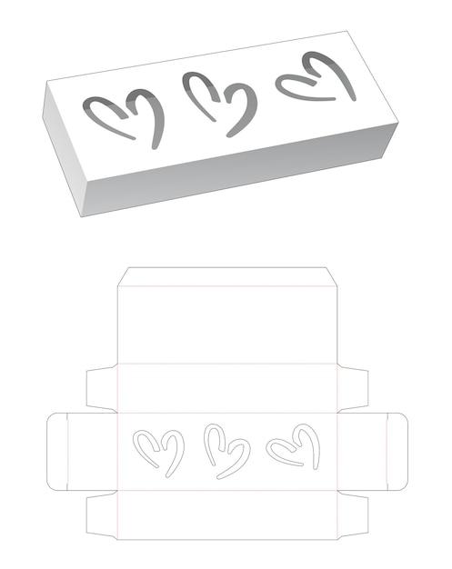 Lange doos met 3 harten gestanst venster sjabloon Premium Vector