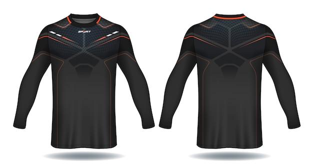 Lange mouwen voetbal jersey sjabloon. t-shirt ontwerp. Premium Vector