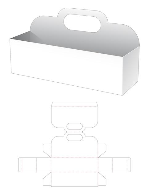 Lange rechthoekige kom met handvat gestanst sjabloon Premium Vector