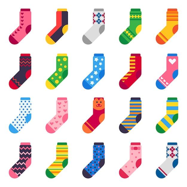 Lange sokken voor kind voeten, kleurrijke stof en gestreepte warme kinderkleding pictogrammen instellen Premium Vector
