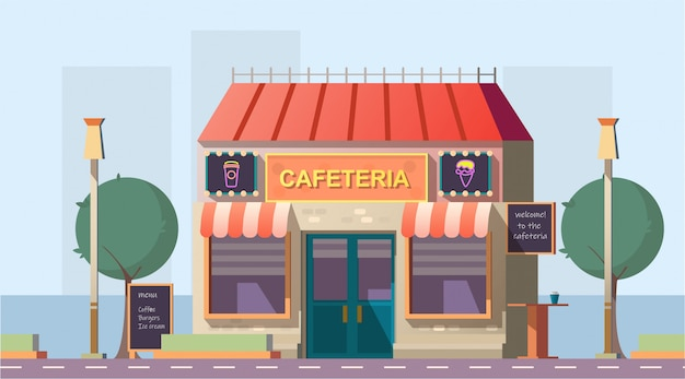 Langs de weg cafetaria of café gebouw met menu Gratis Vector