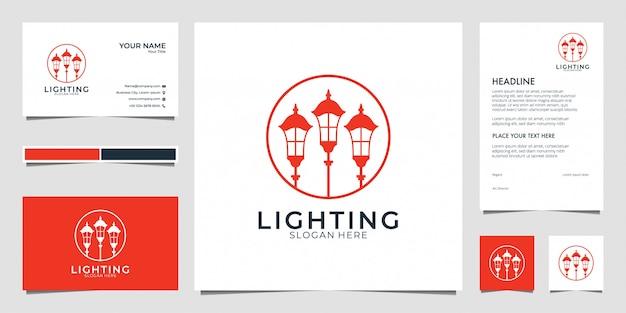 Lantaarn, lamp, lichtlogo ontwerp, visitekaartje en briefhoofd Premium Vector