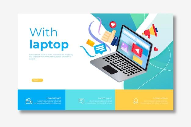Laptop bestemmingspagina sjabloon Gratis Vector