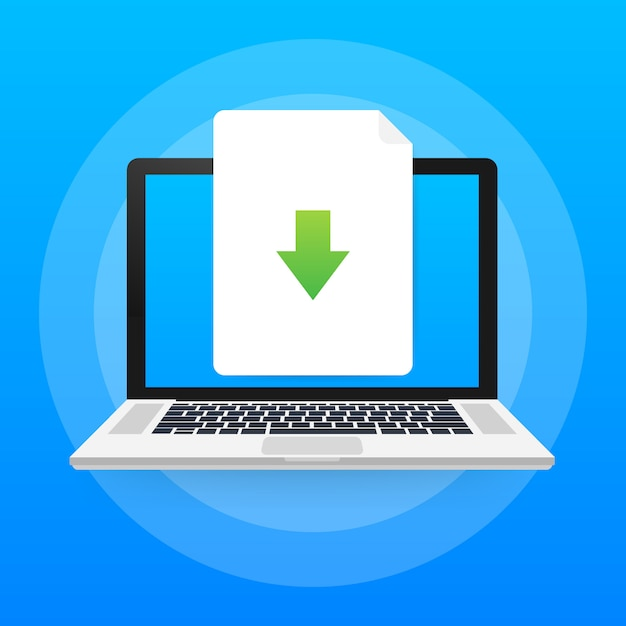 Laptop en download bestandspictogram. document downloaden concept. Premium Vector