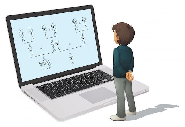 Laptop en man Gratis Vector