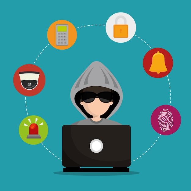 Laptop gehackt sociale media beveiliging Premium Vector