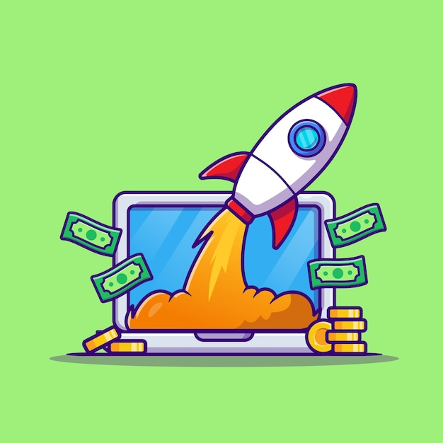 Laptop met geld en raket cartoon vectorillustratie pictogram. technologie bedrijfspictogram Gratis Vector