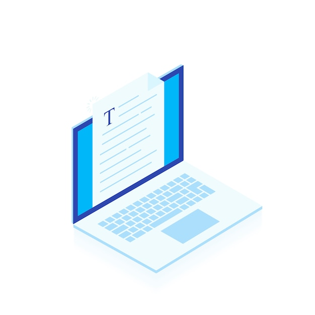 Laptop met het schrijven van brief of dagboek op witte achtergrond, journalistauteur het werken wordt geïsoleerd die. bloggen. moderne isometrische stijlillustratie Premium Vector