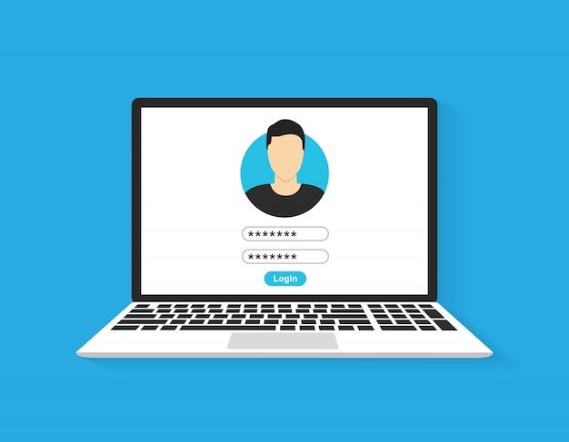 Laptop met login pagina scherm. illustratie Premium Vector