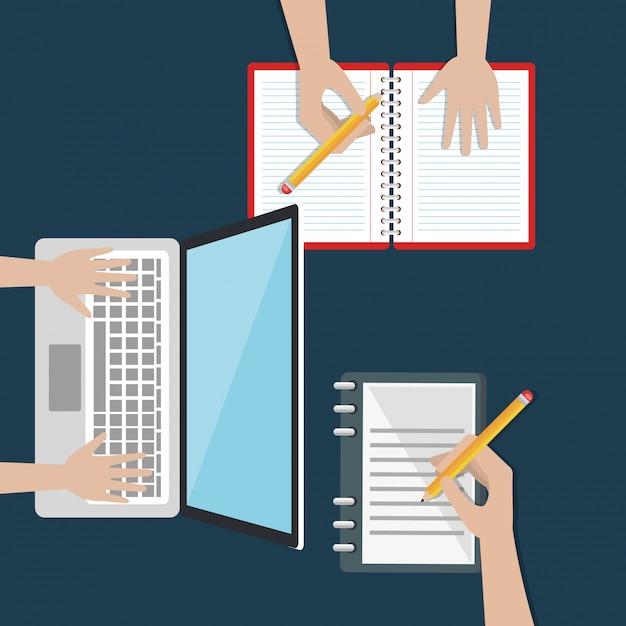 Laptop met onderwijs eenvoudig e-learning pictogrammen Gratis Vector