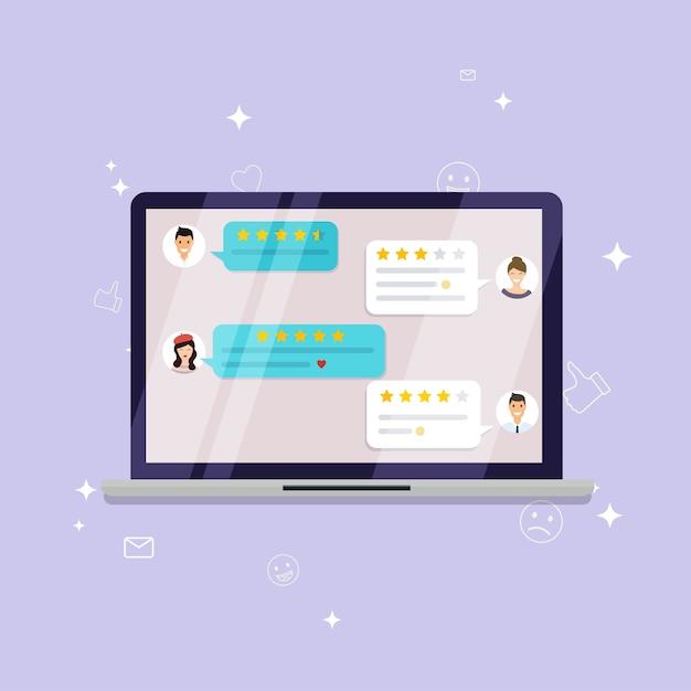 Laptop met recensiebeoordeling. recensies sterren met goede en slechte tarieven en tekst, concept van getuigenissenberichten, meldingen, feedback. Premium Vector