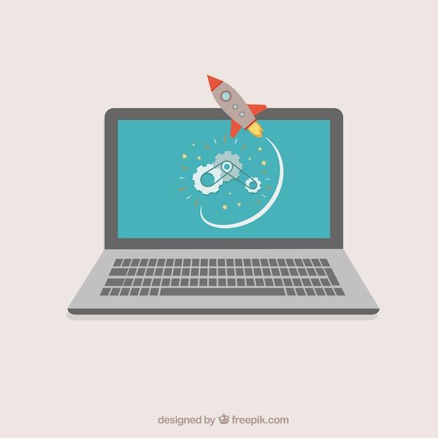 Laptop met rucola Gratis Vector
