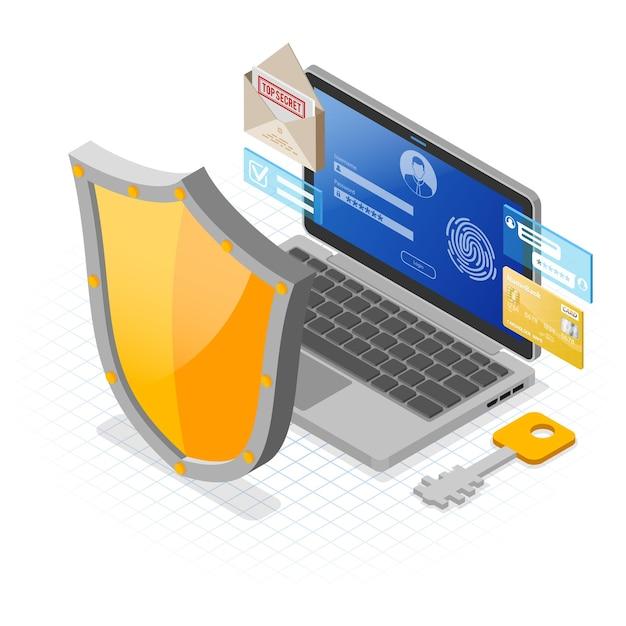 Laptop met vertrouwelijke gegevensbescherming Premium Vector