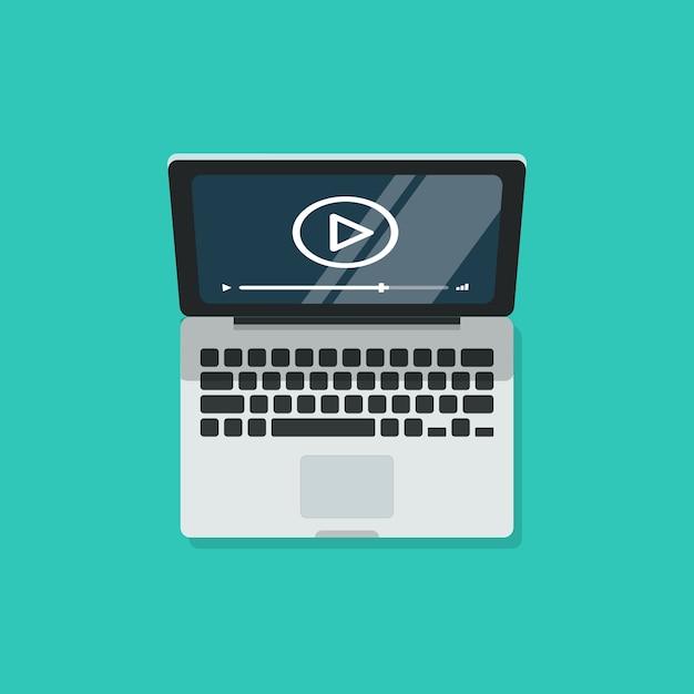 Laptop met videospeler en scherm Premium Vector