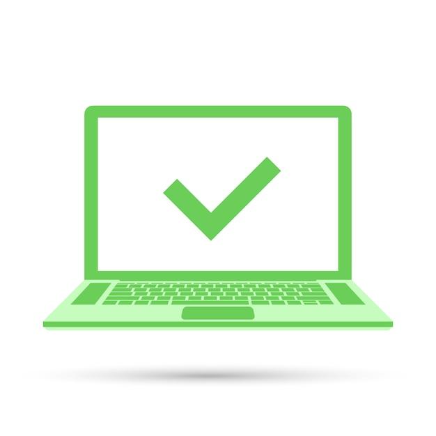 Laptop met vinkje op groen scherm Premium Vector