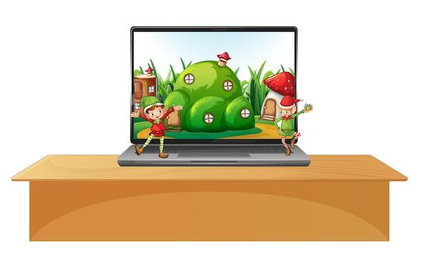 Laptop op de tafel met magisch land op het bureaublad Premium Vector