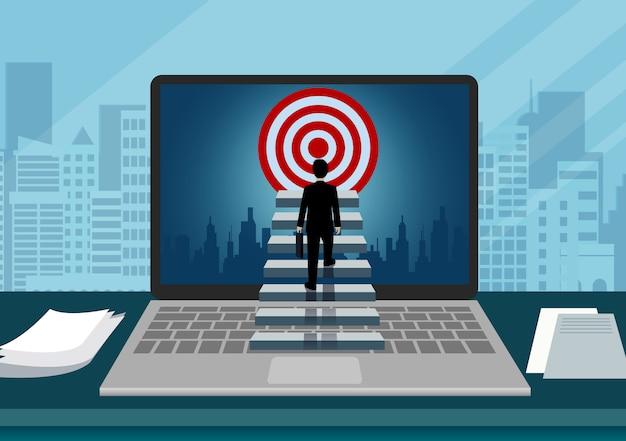 Laptop scherm weergave computer van een zakenman lopen de trap op naar doel Premium Vector