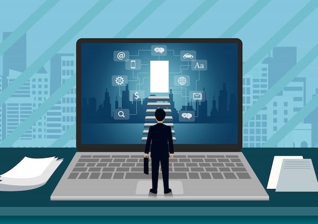 Laptop schermweergave van een zakenman die voor het scherm staat, loopt de trap op naar de deur Premium Vector