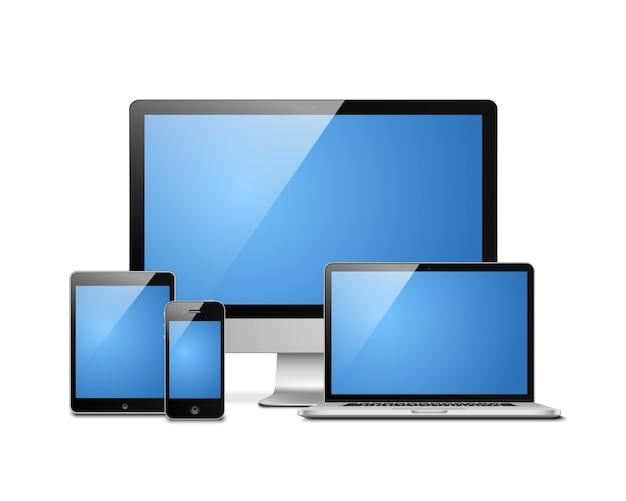 Laptop tablet desktop mobiel Gratis Vector