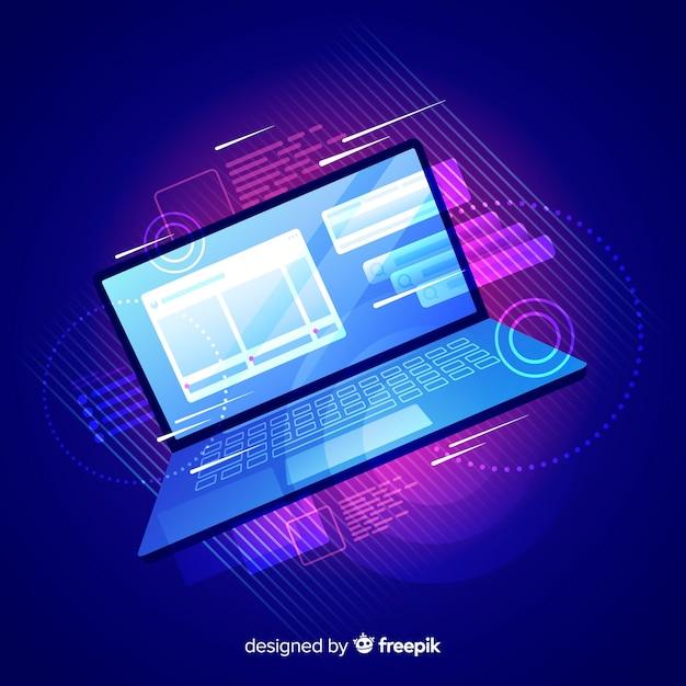 Laptop van de gradiënt hoogste mening technologieachtergrond Gratis Vector