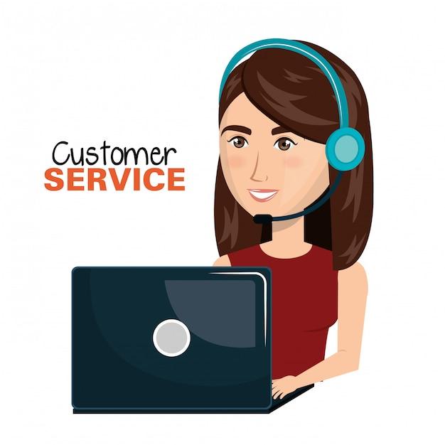 Laptop vrouw klantenservice call center ontwerp Premium Vector