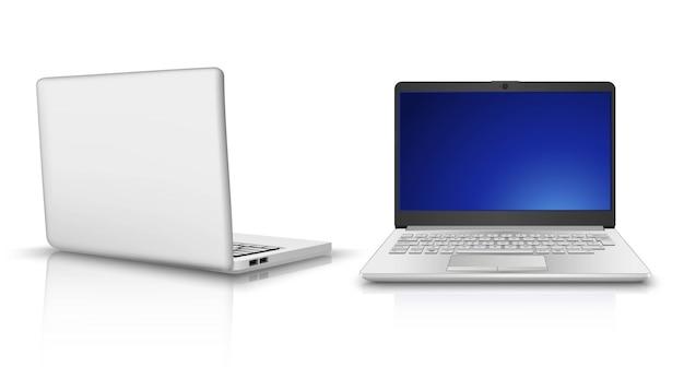 Laptopcomputer in zij- en vooraanzicht. geïsoleerd op een witte achtergrond. Premium Vector